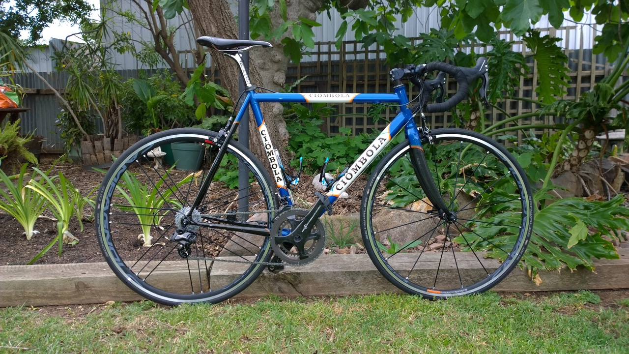 bike has just been freshened with full Campag Chorus 11 speed, and Shamal wheels. 1st race last week in the updated configuration.
